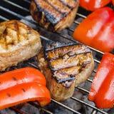 Tonijn met groenten bij de grill Stock Afbeeldingen