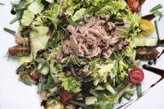 Tonijnsalade met de mening van kersentomaten 3top Stock Afbeelding