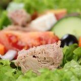 Tonijnsalade met tomaten, olijven, sla en copyspace Royalty-vrije Stock Foto