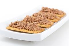 Tonijnvlees op crackers canape stock foto