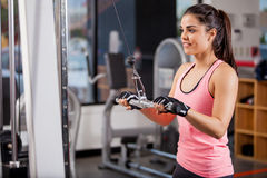 Toning my muscles at the gym Stock Images