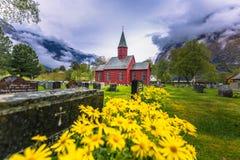 Tonjum, Noorwegen - Mei 14, 2017: Gele bloemen door de Rode kerk stock afbeeldingen