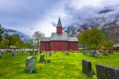 Tonjum, Noorwegen - Mei 14, 2017: Rode kerk van Tonjum-dorp, noch royalty-vrije stock foto