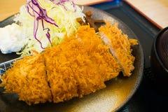 The Tonkatsu or Chicken Katsu morning set japanese food unblo. Tonkatsu or Chicken Katsu morning set japanese food unblock plate royalty free stock photography