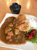 Tonkatsu con el curry y el arroz, comida japonesa Foto de archivo
