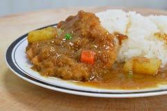 Tonkatsu deep fried pork dressing with Japanese curry Royalty Free Stock Photo