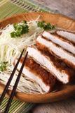 Tonkatsu Japanese breaded deep fried pork with cabbage closeup. Royalty Free Stock Photo