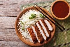 Tonkatsu Japanese breaded deep fried pork with cabbage horizonta Stock Photos