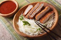 Tonkatsu Japanese breaded deep fried pork cutlet serve with cabb Stock Image