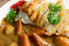 Tonkatsu, Japanese deep-fried pork cutlet on top with curry Stock Photo