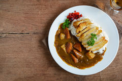 Tonkatsu, Japanese deep-fried pork cutlet on top with curry Stock Photography