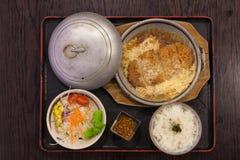 Tonkatsu met rijst en ei Royalty-vrije Stock Afbeelding