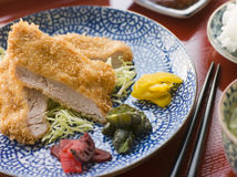 Tonkatsu Plated with Rice Miso Soup and Pickles Stock Photo