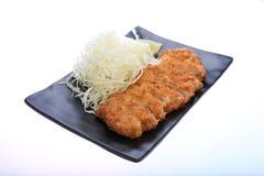 Tonkatsu - pollo fritto della cotoletta con la verdura Fotografia Stock