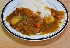 Tonkatsu pork fried dressing Japanese curry on rice Stock Photos