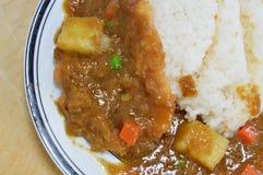 Tonkatsu pork fried dressing Japanese curry on rice Stock Images