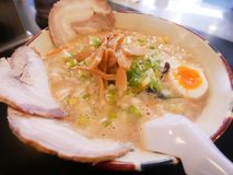 Tonkatsu Ramen of Hakodate, Hokkaido, Japan. Ramen with boil egg