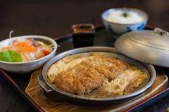 Tonkatsu with rice and egg Stock Photos