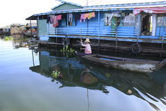 Tonle sap. Floating village in Cambodia Stock Image