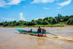 Men on the boat, Tonle Sap Stock Photography