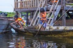 The Tonle sap lake Cambodia. TONLE SAP , CAMBODIA - OCT 18 : Cambodian children in Tonle sap lake Cambodia on October 18 2017. Tonle sap It is the largest lake Royalty Free Stock Photos