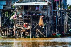 Tonle Sap Floating village Cambodia royalty free stock photos