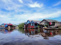 Tonle Sap Lake, Cambodia. Floating house and houseboat on the Tonle Sap Lake, batween Battambang and Siem Reap, Cambodia Royalty Free Stock Photos