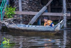 The Tonle sap lake Cambodia. TONLE SAP , CAMBODIA - OCT 18 : Cambodian child in Tonle sap lake Cambodia on October 18 2017. Tonle sap It is the largest lake in Royalty Free Stock Photography