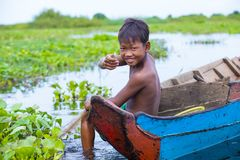 The Tonle sap lake Cambodia. TONLE SAP , CAMBODIA - OCT 18 : Cambodian child in Tonle sap lake Cambodia on October 18 2017. Tonle sap It is the largest lake in Royalty Free Stock Photos