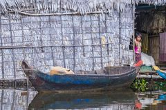 The Tonle sap lake Cambodia. TONLE SAP , CAMBODIA - OCT 18 : Cambodian child in Tonle sap lake Cambodia on October 18 2017. Tonle sap It is the largest lake in Stock Image