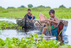 The Tonle sap lake Cambodia. TONLE SAP , CAMBODIA - OCT 18 : Cambodian children in Tonle sap lake Cambodia on October 18 2017. Tonle sap It is the largest lake Royalty Free Stock Photography