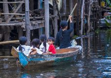 The Tonle sap lake Cambodia. TONLE SAP , CAMBODIA - OCT 18 : Cambodian children in Tonle sap lake Cambodia on October 18 2017. Tonle sap It is the largest lake Stock Photography