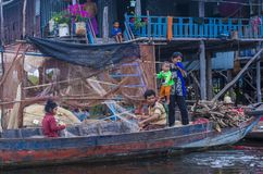 The Tonle sap lake Cambodia. TONLE SAP , CAMBODIA - OCT 18 : Cambodian people in Tonle sap lake Cambodia on October 18 2017. Tonle sap It is the largest lake in Stock Image