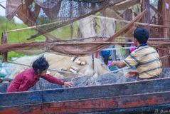 The Tonle sap lake Cambodia. TONLE SAP , CAMBODIA - OCT 18 : Cambodian people in Tonle sap lake Cambodia on October 18 2017. Tonle sap It is the largest lake in Royalty Free Stock Photography