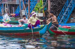 The Tonle sap lake Cambodia. TONLE SAP , CAMBODIA - OCT 18 : Cambodian people in Tonle sap lake Cambodia on October 18 2017. Tonle sap It is the largest lake in Royalty Free Stock Photo