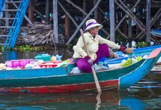The Tonle sap lake Cambodia. TONLE SAP , CAMBODIA - OCT 18 : Cambodian woman in Tonle sap lake Cambodia on October 18 2017. Tonle sap It is the largest lake in Royalty Free Stock Image