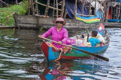 The Tonle sap lake Cambodia. TONLE SAP , CAMBODIA - OCT 18 : Cambodian woman in Tonle sap lake Cambodia on October 18 2017. Tonle sap It is the largest lake in Royalty Free Stock Photography
