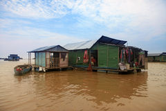Tonle Sap lake. The village on the water. Tonle sap lake in Cambodia Royalty Free Stock Images