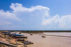Tonle underminerar sjön i Siem Reap Royaltyfria Bilder