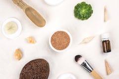 Tonmineralgesichtswasser und kosmetische Werkzeuge stockbild