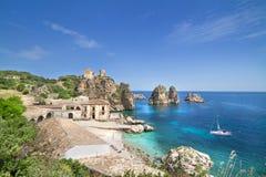 Tonnara Di Scopello, Σικελία, Ιταλία Στοκ Εικόνες