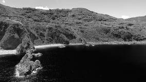 Tonnara plaża Ulivo i Scoglio, Calabria od powietrza Zdjęcia Royalty Free