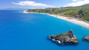 Tonnara plaża Ulivo i Scoglio, Calabria od powietrza Fotografia Stock