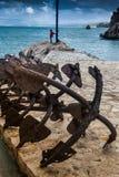 Tonnara przy Scopello z antycznymi kotwicami, Sicily, Włochy Zdjęcia Royalty Free