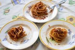 Tonnarelli alla salsa al pomodoro immagine stock