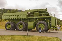 Giant Titan mining haul truck. The 350 tonne, 66 foot, 3,300 horsepower 1974 Terex Titan mining haul truck on display in the town of Sparwood, BC, Canada royalty free stock photos