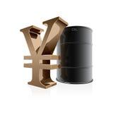 tonneau à huile 3d et signe de yuans Photographie stock
