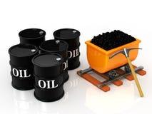 Tonneau à huile de charbon et Photo libre de droits