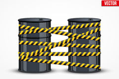 Tonneaux à huile avec la ligne de danger Photographie stock
