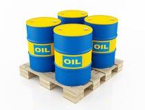 Tonneaux à huile bleus et jaunes Images libres de droits